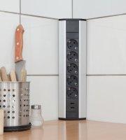 Sarokelosztó 5 x 250V, 16A 2 x USB, 2,1A alumínium ház