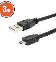 USB kábel 2.0 A dugó - B dugó (micro) 3 m