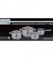 Diamond 7 részes rozsdamentes edénykészlet üvegfedővel