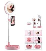 Kozmetikai LED sminktükör, telefontartóval