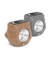 """LED-es kültéri szolárlámpa - """"szürke kő"""" - hidegfehér - 80 x 56 x 70 mm"""