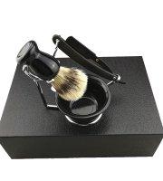Borotválkozó szett borotvával és borotvapamacs készlettel, díszdobozban
