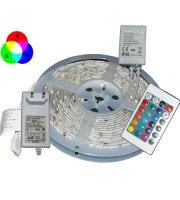 5 m színválasztós LED szalag távirányítóval, fehér/RGB színekkel